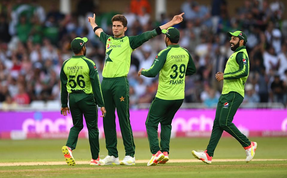 Shaheen Shah Afridi celebrates the wicket of Dawid Malan (Getty Images)