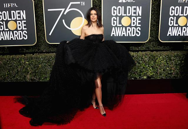 Kendall Jenner modeled a gorgeous Giambattista Valli gown at the 2018 Golden Globes. (Photo: Frederick M. Brown/Getty Images)