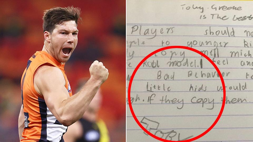 Seen here, GWS star Toby Greene and the letter about bad behaviour that he wrote as a kid.
