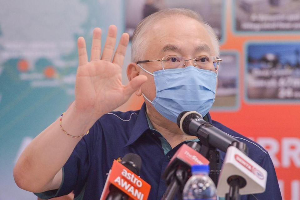 Transport Minister Datuk Seri Wee Ka Siong speaks during a press conference at the Port Klang Sport Club's multipurpose hall June 25, 2021. — Picture by Miera Zulyana