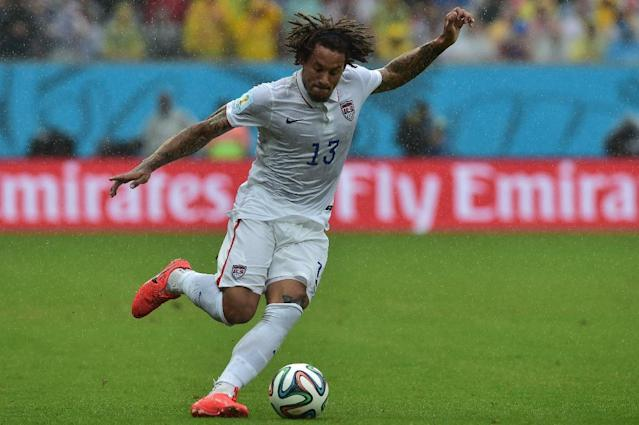 US midfielder Jermaine Jones plays the ball during the match against Germany at the Pernambuco Arena in Recife during the FIFA World Cup on June 26, 2014 (AFP Photo/Nelson Almeida)