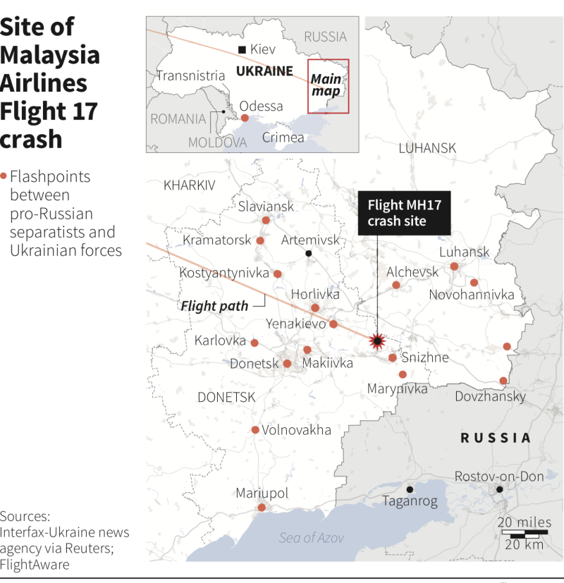 Diagram showing the location of the MH17 crash site.