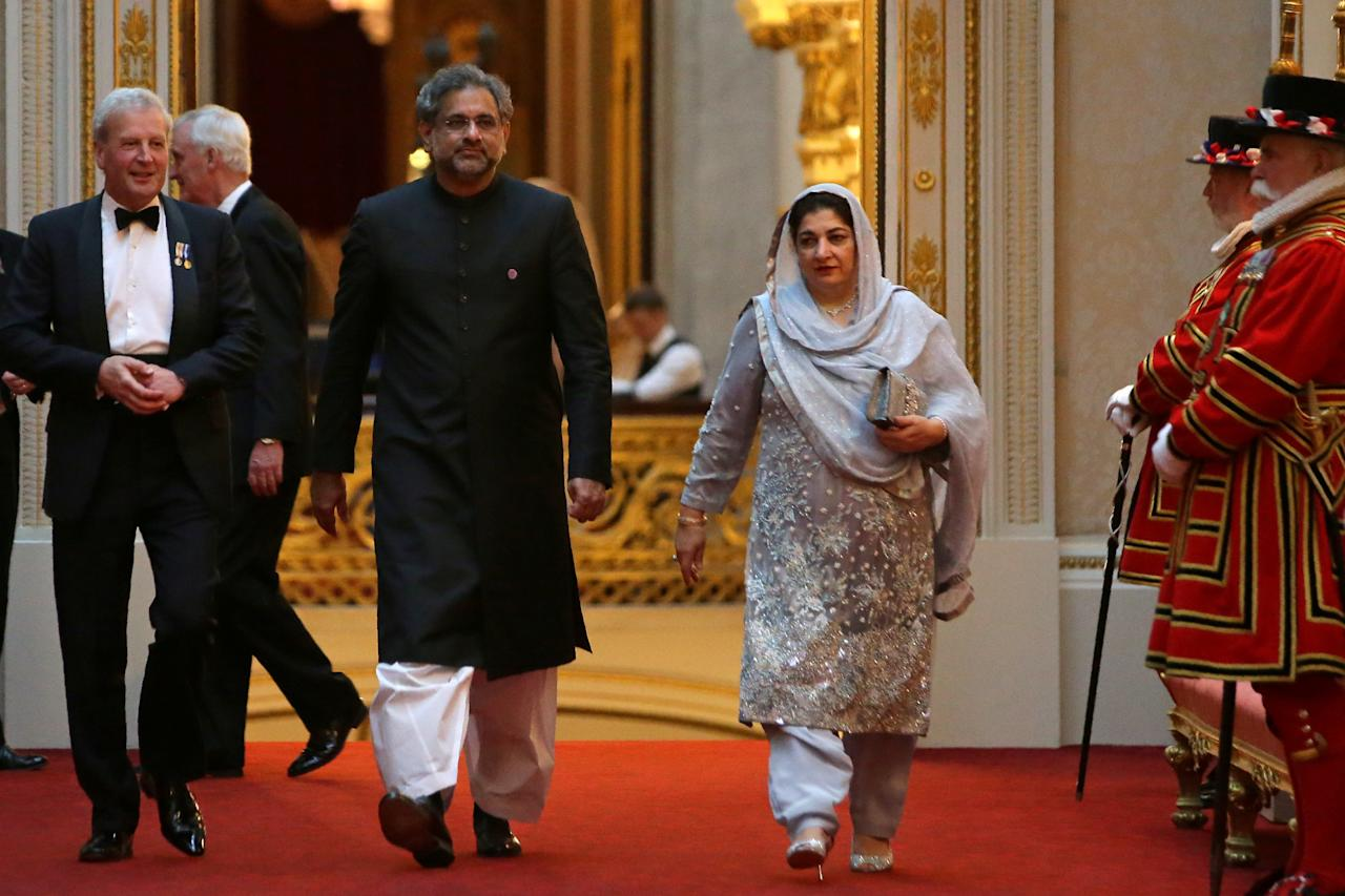 Pakistan's Prime Minister Shahid Khaqan Abbasi arrives to attend The Queen's Dinner during The Commonwealth Heads of Government Meeting (CHOGM), at Buckingham Palace in London on April 19, 2018.  Daniel Leal-Olivas/Pool via Reuters