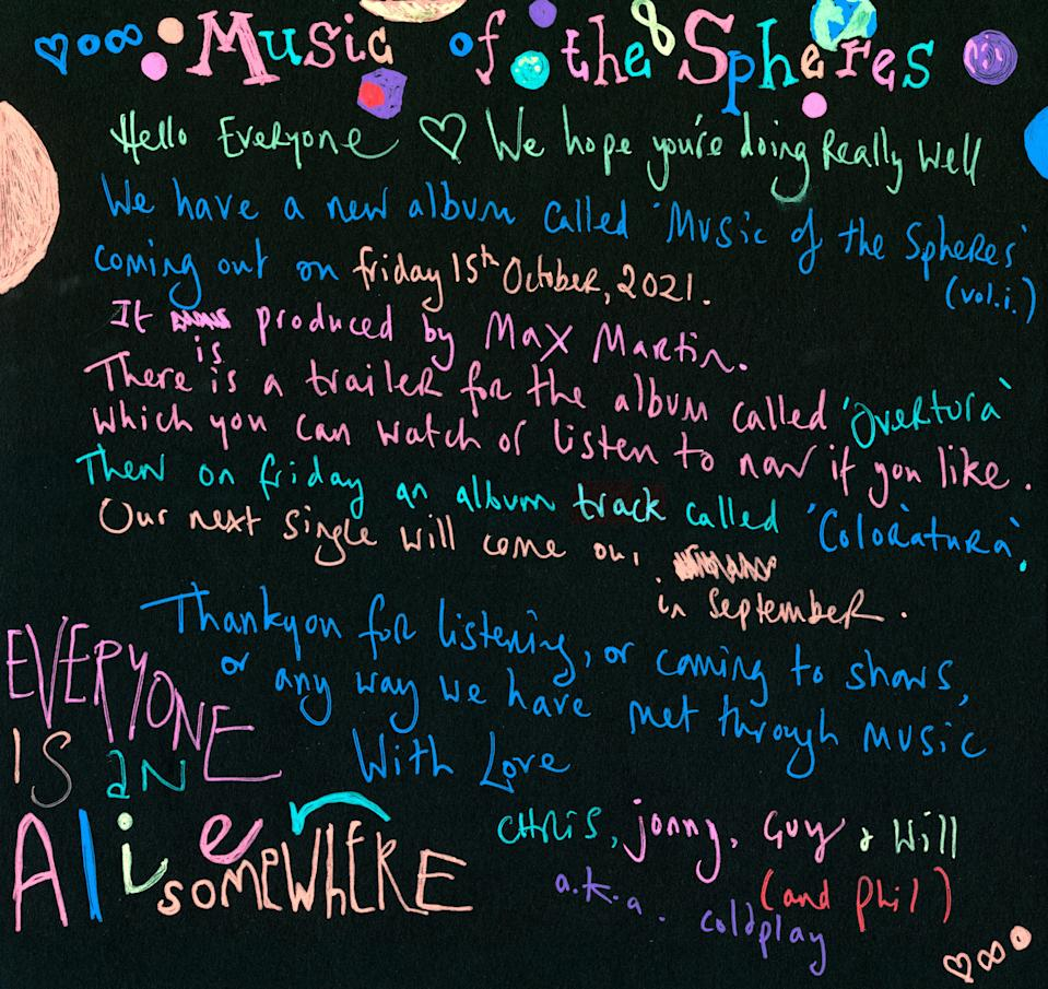 Coldplay note - Credit: Courtesy Coldplay