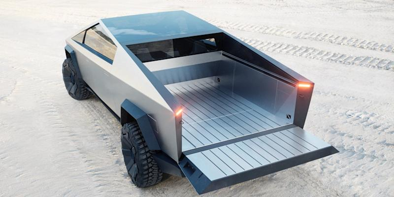 The Cybertruck's bed is big enough to fit the entire Cyberquad ATV