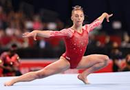 """<p>The 19-year-old overcame a January hand injury to earn a spot on the team. <a href=""""https://www.usatoday.com/story/sports/olympics/2021/07/21/2021-olympics-grace-mccallum-height-hometown-medal/8028416002/"""" rel=""""nofollow noopener"""" target=""""_blank"""" data-ylk=""""slk:According to USA Today"""" class=""""link rapid-noclick-resp"""">According to <em>USA Today</em></a>, she had """"strong performances"""" on the vault at the June olympic trials, and finished fourth overall behind teammates Biles, Lee and Chiles.</p>"""