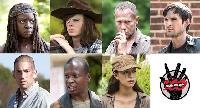 Danai Gurira as Michonne, Chandler Riggs as Carl, Michael Rooker as Merle, Andrew J. West as Gareth, Jon Bernthal as Shane, Lawrence Gilliard Jr. as Bob, and Christian Serratos as Rosita in 'The Walking Dead' <strong> </strong>(Photo: AMC)