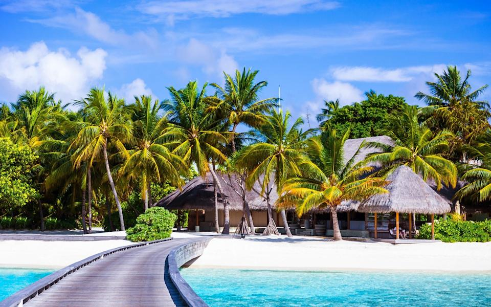 A footbridge surrounded by the sea, palm trees, golden sands and little wooden houses in the Maldives - Anna Om