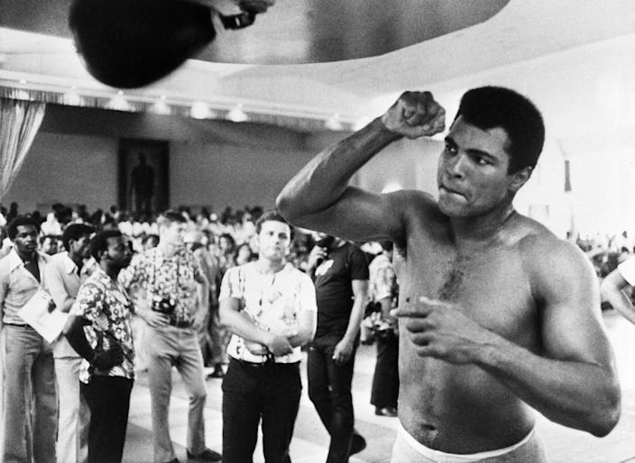 Muhammad Ali at a training session in Kinshasa in 1974 ahead of his world heavyweight fight against George Foreman (AFP Photo/)