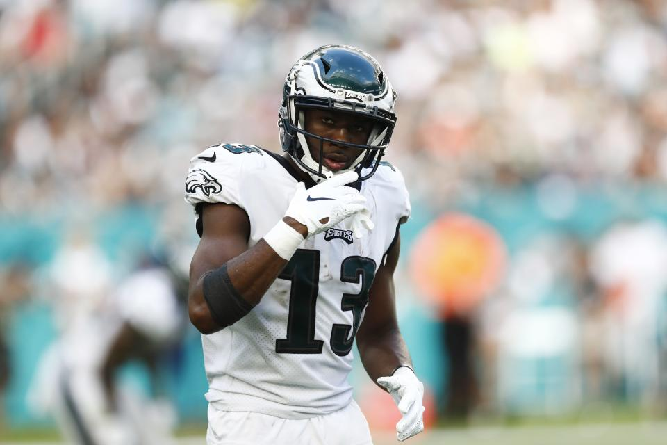 Philadelphia Eagles wide receiver Nelson Agholor (13) gestures, during the second half at an NFL football game against the Miami Dolphins, Sunday, Dec. 1, 2019, in Miami Gardens, Fla. (AP Photo/Brynn Anderson)