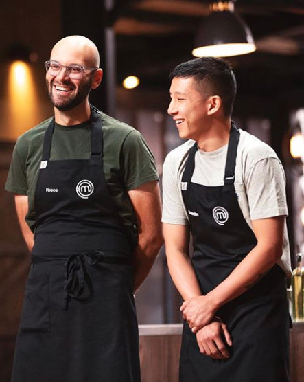 Reece Hignell and Brendan Pang laughing on MasterChef