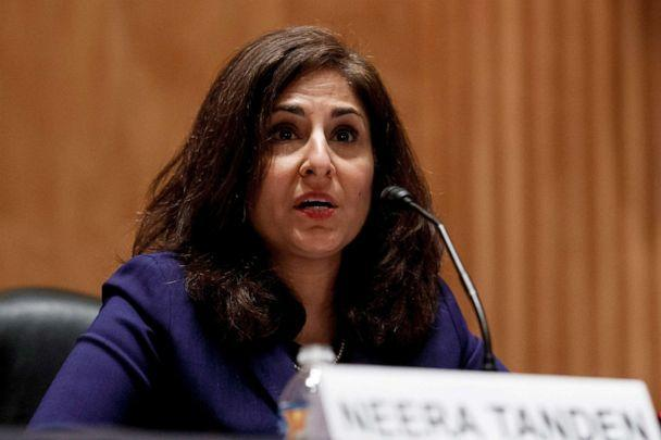 PHOTO: Neera Tanden speaks during a Senate Homeland Security and Governmental Affairs Committee confirmation hearing in Washington, D.C., Feb. 9, 2021. (Ting Shen/Reuters, FILE)