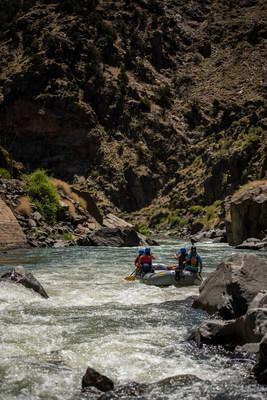 A raft exits Sunshine Rapid in the Royal Gorge of the Arkansas River.