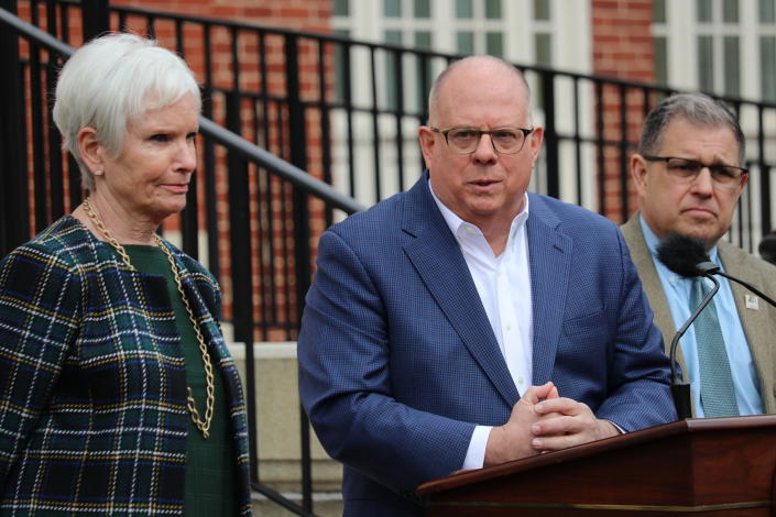 Maryland Gov. Larry Hogan announces the postponement of the state's April 28 primary to June 2 on March 17. (Brian Witte/AP)