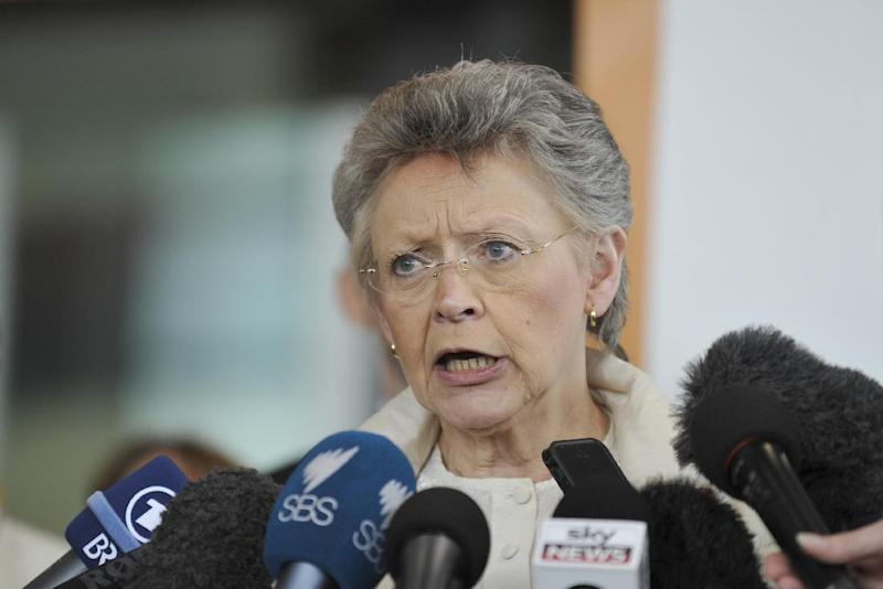 International AIDS Society president Françoise Barre-Sinoussi of France addresses the media at the Melbourne Convention and Exhibition Centre (MCEC) in Melbourne on July 19, 2014 (AFP Photo/Esther Lim)