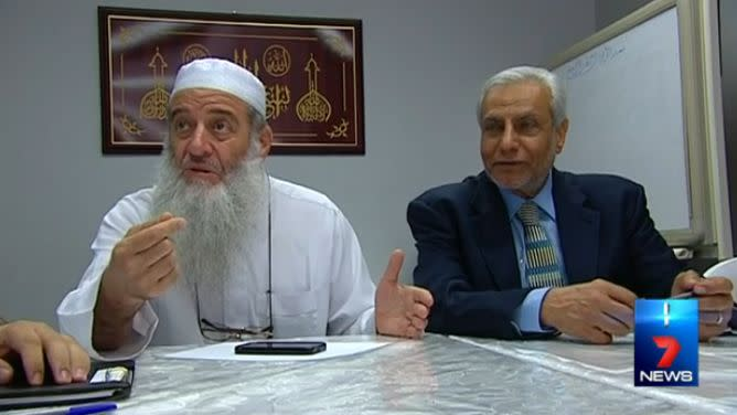 Sheikh Zoud sitting with the Grand Mufti of Australia. Photo: 7 News