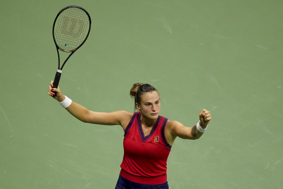 Aryna Sabalenka,of Belarus, reacts after scoring a point against Leylah Fernandez, of Canada, during the semifinals of the US Open tennis championships, Thursday, Sept. 9, 2021, in New York. (AP Photo/Frank Franklin II)