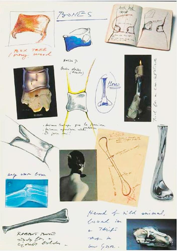 Peretti's sketches of the Bone cuffs and candlestick.