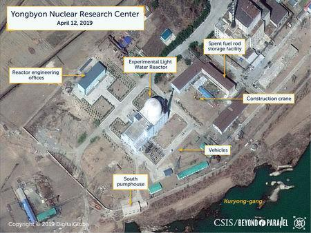 A view of vehicles near what researchers of Beyond Parallel, a CSIS project, describe as being the Experimental Light Water Reactor at the Yongbyon Nuclear Research Center in North Pyongan Province, North Korea, in this commercial satellite image taken April 12, 2019 and released April 16, 2019. CSIS/Beyond Parallel/DigitalGlobe 2019 via REUTERS