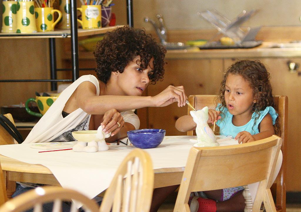 """Last week, Halle Berry and her daughter Nahla, 4, were spotted on the set of Halle's movie, """"The Hive,"""" but this week the mommy and me duo headed out for a creative play date at Color Me Mine in Beverly Hills, California. (7/25/2012)"""