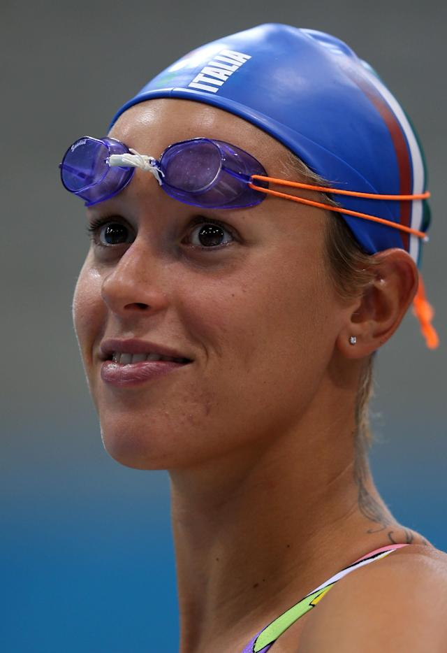 LONDON, ENGLAND - JULY 27: Federica Pellegrini of Italy in action during a practice session ahead of the London 2012 Olympic Games at the Aquatics Centre in Olympic Park on July 27, 2012 in London, England. (Photo by Clive Rose/Getty Images)