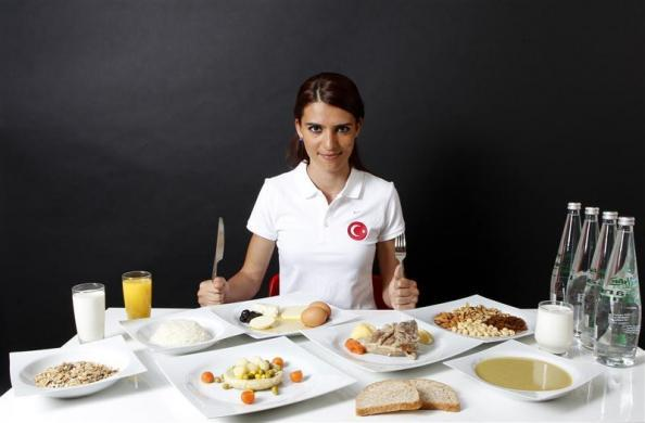 Turkish 800-meter runner and Olympic hopeful Merve Aydin, 22, poses in front of her daily meal intake in Ankara May 23, 2012.