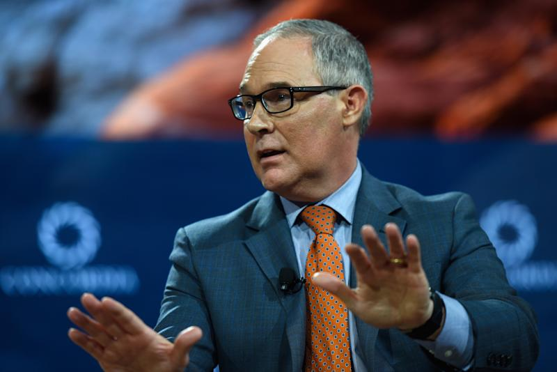 EPA Administrator Scott Pruitt has said he doesn't believe carbon dioxide causes climate change.  (Riccardo Savi via Getty Images)
