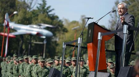 Mexican President-elect Andres Manuel Lopez Obrador addresses the troops at Military Camp 1 in Mexico City