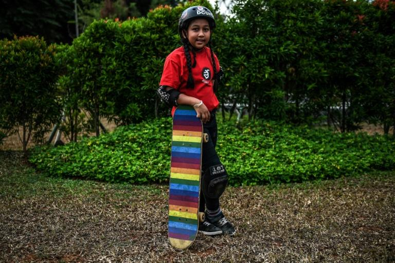 Aliqqa, 9, stands just 1.30 metres (4ft, 2in) tall and has only been skating for two years