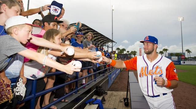 "<p>New York Mets general manager Sandy Alderson admitted that the team signed Tim Tebow party due to his celebrity status, <a href=""http://www.newsday.com/sports/baseball/mets/sandy-alderson-tells-inside-joke-about-tim-tebow-signing-1.13776237"" rel=""nofollow noopener"" target=""_blank"" data-ylk=""slk:according"" class=""link rapid-noclick-resp"">according</a> to Newsday.</p><p>""Look, we signed him because he is a good guy, partly because of his celebrity, partly because this is an entertainment business. My attitude is, 'Why not?'"" Alderson said at the SABR Convention.</p><p>He added that the scout who is listed as the scout from Tebow's showcase before the Mets signed the former Heisman Trophy winner is a director of merchandising.</p><p>• <a href=""https://www.si.com/mlb/2017/06/28/barry-bonds-home-run-yankee-stadium-oral-history"" rel=""nofollow noopener"" target=""_blank"" data-ylk=""slk:An oral history of Barry Bonds's titanic Yankee Stadium homer"" class=""link rapid-noclick-resp""><strong>An oral history of Barry Bonds's titanic Yankee Stadium homer</strong></a></p><p>Tebow was recently called up to the High A club in Port St. Lucie. He has one home run in his first three games with the team after hitting .220 with three home runs in 64 games with the low Single A Columbia Fireflies.</p>"