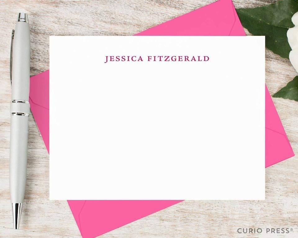 """<h3><a href=""""https://amzn.to/3akZlS8"""" rel=""""nofollow noopener"""" target=""""_blank"""" data-ylk=""""slk:Curio Press Personalized Stationary Set"""" class=""""link rapid-noclick-resp"""">Curio Press Personalized Stationary Set<br></a></h3><br>This beautiful set of personalized cards and envelopes comes with the promise of staying in touch — perfect for the mom that you can't see on a regular basis. <br><br><strong>Curio Press</strong> Stationery Notecard And Envelope Set, $, available at <a href=""""https://amzn.to/3csvMPF"""" rel=""""nofollow noopener"""" target=""""_blank"""" data-ylk=""""slk:Amazon"""" class=""""link rapid-noclick-resp"""">Amazon</a>"""
