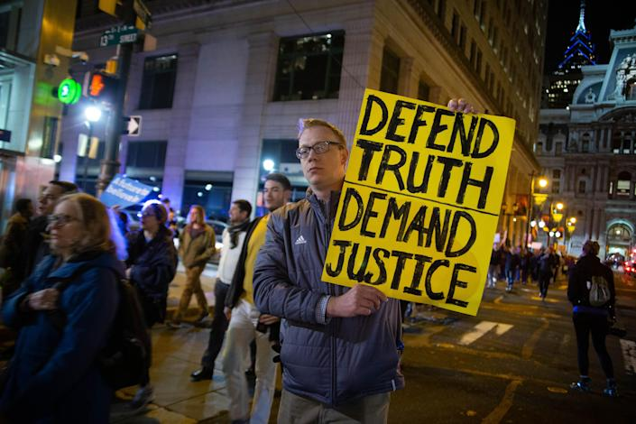 <p>Hundreds of protestors gather and march in Philadelphia, Nov. 8, 2018 in an event pre-planned by organizers and triggered by President Trump's firing of Attorney General Jeff Sessions and appointment of Matthew Whitaker as acting attorney general. Whitaker is seen as a potential threat to the Mueller investigation. (Photo: Michael Candelori/NurPhoto via Getty Images) </p>