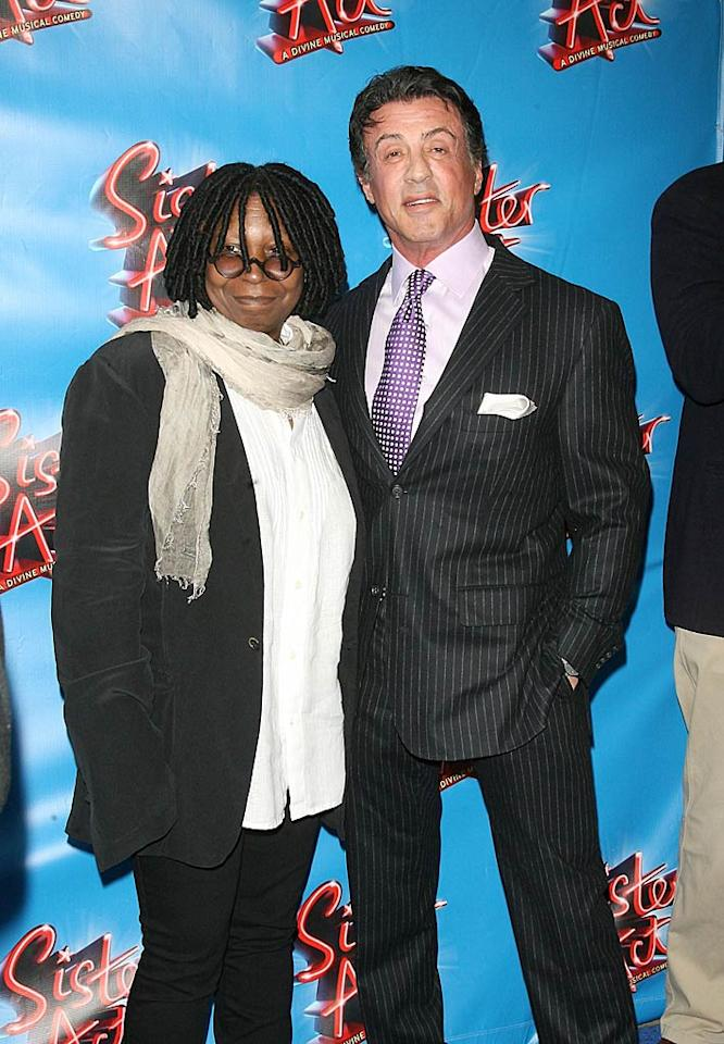 "Sylvester Stallone joined pal Whoopi Goldberg for Thursday night's Broadway opening of ""Sister Act,"" the new musical Whoopi's producing. Hard to believe it's been nearly 20 years since she starred in the original ""Sister Act"" film! Jim Spellman/<a href=""http://www.wireimage.com"" target=""new"">WireImage.com</a> - April 20, 2011"