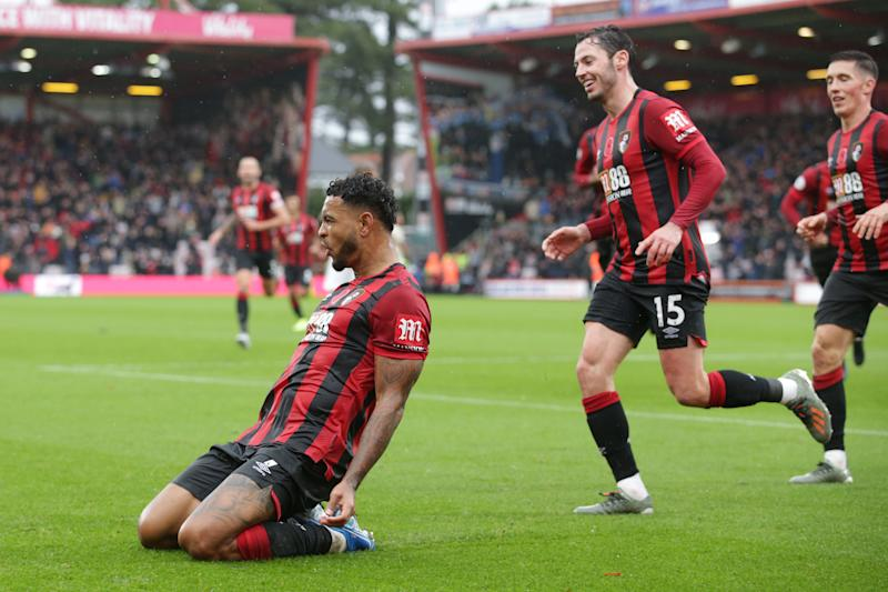 BOURNEMOUTH, ENGLAND - NOVEMBER 02: Joshua King of Bournemouth celebrates with team-mates after he scores a goal to make it 1-0 during the Premier League match between AFC Bournemouth and Manchester United at Vitality Stadium on November 02, 2019 in Bournemouth, United Kingdom. (Photo by Robin Jones - AFC Bournemouth/AFC Bournemouth via Getty Images)