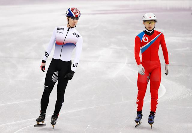 Short Track Speed Skating Events - Pyeongchang 2018 Winter Olympics - Men's 500 m Competition - Gangneung Ice Arena - Gangneung, South Korea - February 20, 2018 - Jong Kwang Bom of North Korea and Hwang Daeheon of South Korea. REUTERS/John Sibley TPX IMAGES OF THE DAY