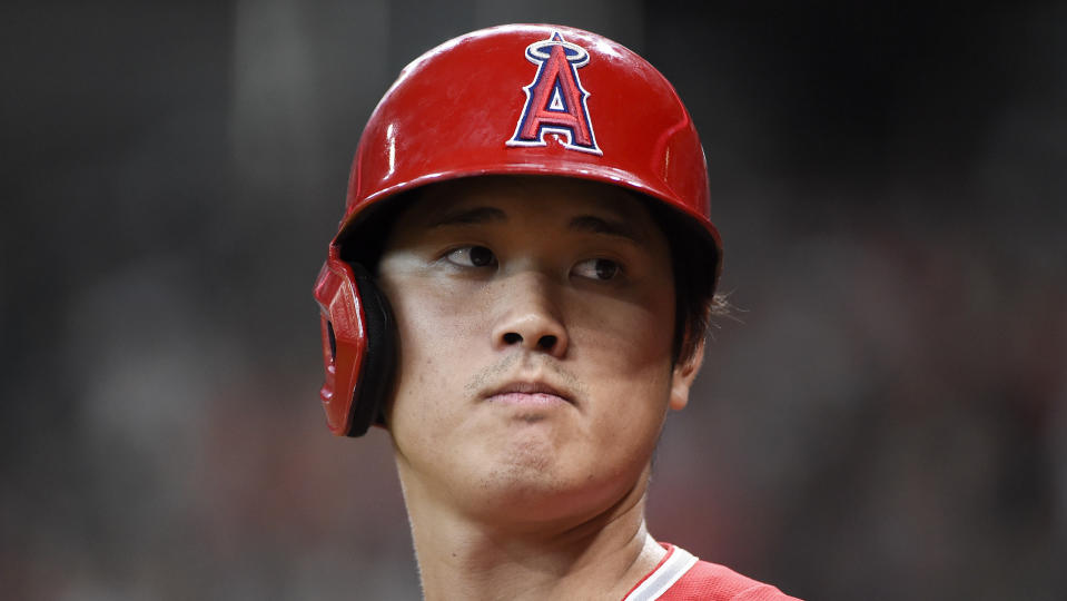 Los Angeles Angels designated hitter Shohei Ohtani stands in the on-deck circle before a baseball game against the Houston Astros, Saturday, Sept. 11, 2021, in Houston. (AP Photo/Eric Christian Smith)