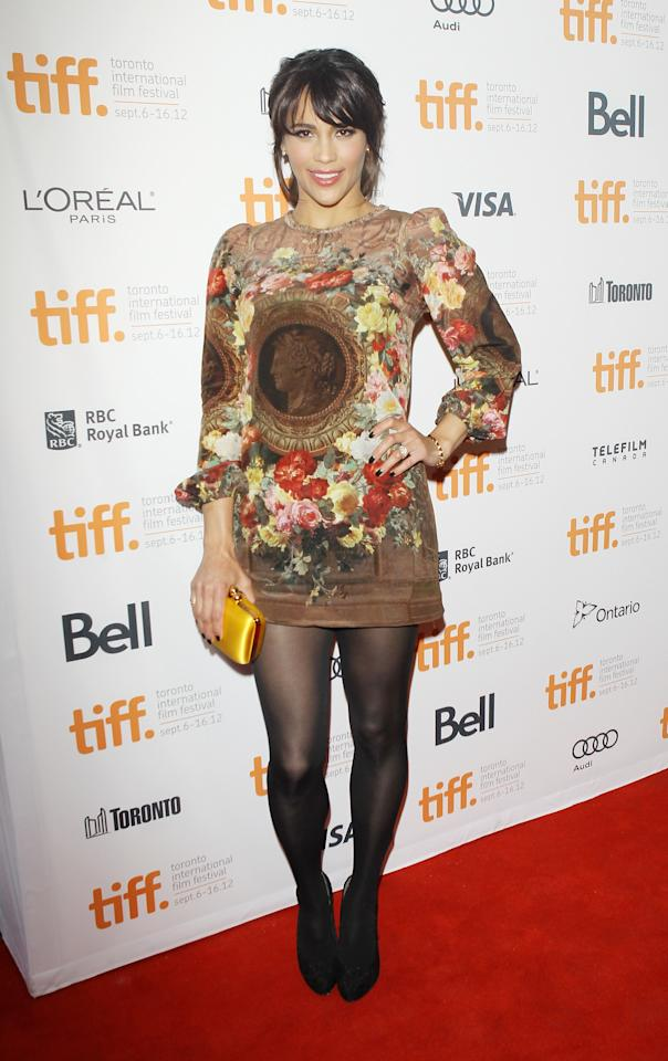 "WORST: Paula Patton clearly wanted to take a fashion risk at TIFF, but yikes! This one did not pay off. Looking more like the wallpaper of an elderly woman's house than like an actual piece of clothing, this dress is just one big ""no."""