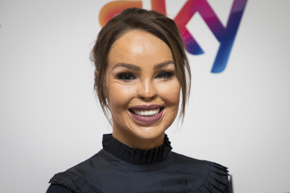 TV presenter Katie Piper poses for photographers upon arrival at the Women in Film and TV Awards, in London, Friday, Dec. 7, 2018. (Photo by Vianney Le Caer/Invision/AP)