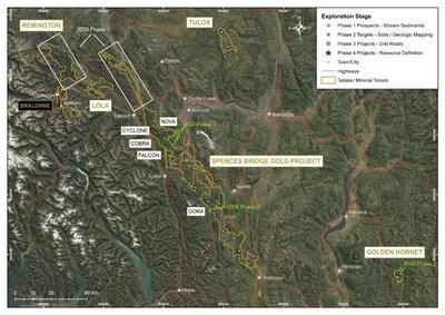 Figure 1 - Location Map of Talisker's Greenfields project areas including Spences Bridge and Golden Hornet (CNW Group/Talisker Resources Ltd)