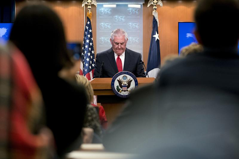 Secretary of State Rex Tillerson pauses while speaking at the State Department in Washington on March 13, 2018.