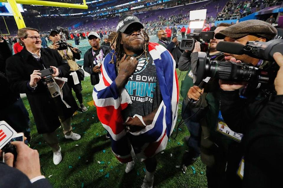 Jay Ajayi celebrates victory over the New England Patriots in Super Bowl LIIGetty