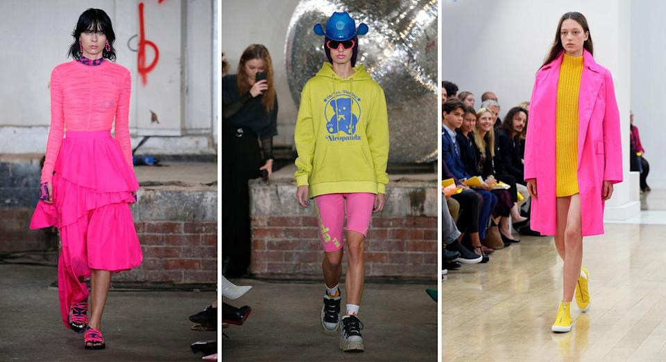 <p>Neon is undoubtedly the marmite of the fashion world but whether you like it or not, it's not going anywhere <em>just</em> yet. Over at Nicopanda, models took on two trends in one thanks to hot pink biker shorts while Jasper Conran's collection is sure to win over the most hesitant of critics. <em>[Photo: Getty]</em> </p>