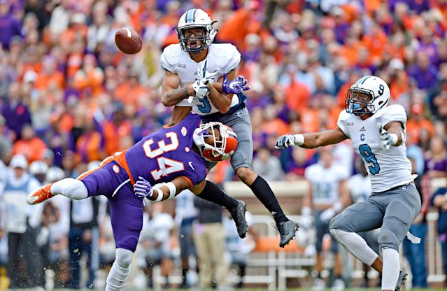 <p>Citadel's Wally Wilmore (3) breaks up a pass intended for Clemson's Ray-Ray McCloud (34) with Khafari Buffalo watching during the first half of an NCAA college football game Saturday, Nov. 18, 2017, in Clemson, S.C. (AP Photo/Richard Shiro) </p>