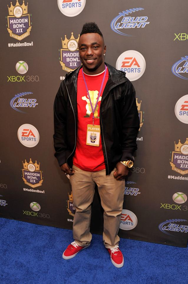 NEW ORLEANS, LA - JANUARY 31:  NFL Draft prospect Kenjon Barner of the Oregon Ducks arrives at EA SPORTS Madden Bowl XIX at the Bud Light Hotel on January 31, 2013 in New Orleans, Louisiana.  (Photo by Stephen Lovekin/Getty Images for Bud Light)