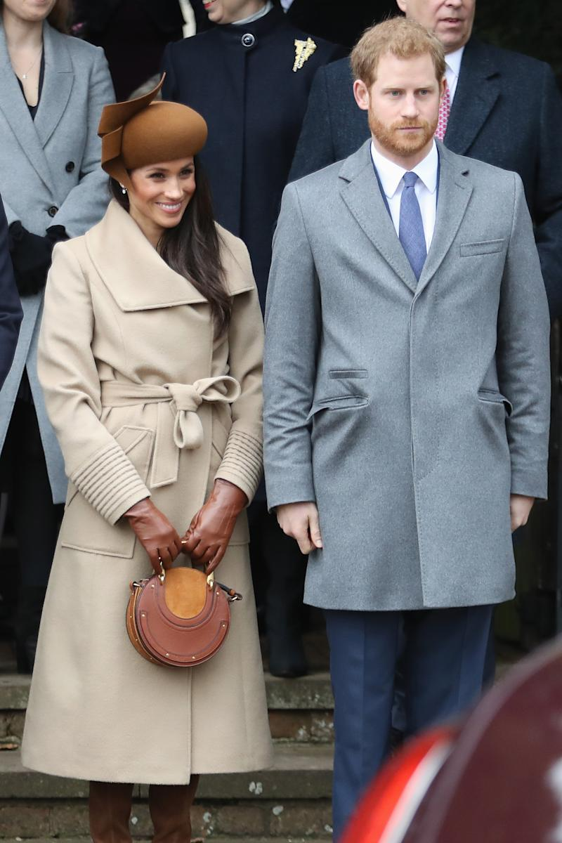 attends Christmas Day Church service at Church of St Mary Magdalene on December 25, 2017 in King's Lynn, England.