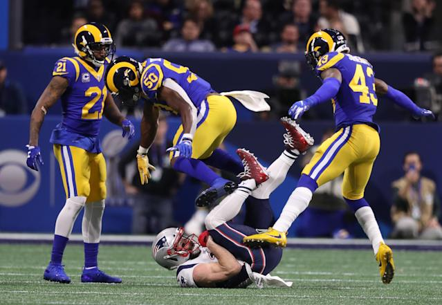 <p>Julian Edelman makes a catch during the first quarter. The New England Patriots play the Los Angeles Rams in Super Bowl LIII at Mercedes-Benz Stadium. (Jim Davis/Globe Staff) </p>