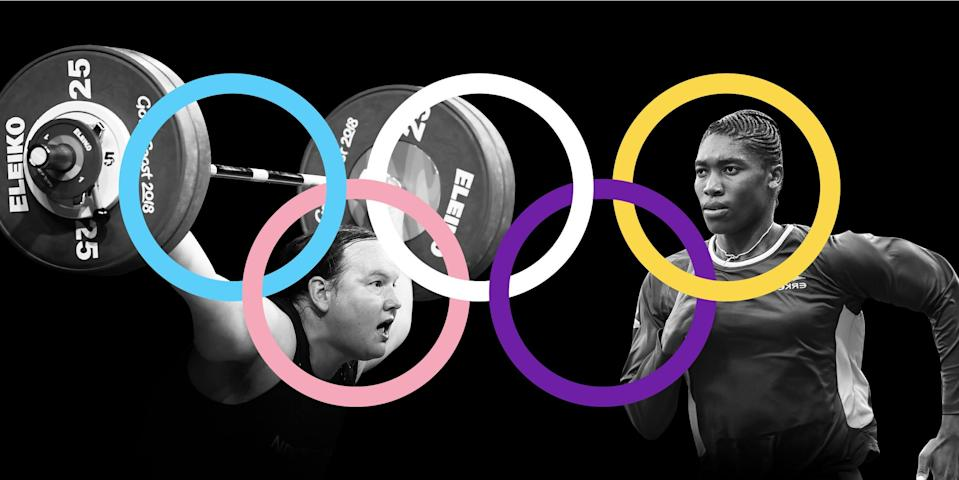 The Olympic rings logo with the Transgender and Intersex flag colors on top of the first openly trans woman to compete in the Olympics, Laurel Hubbard, and Olympian and middle-distance runner Caster Semenya on a black background.