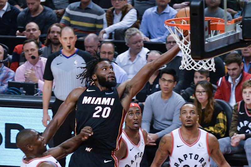 Justise Winslow playing for his former team the Miami Heat as he puts up a shot during the Toronto Raptors vs Miami Heat NBA regular season game at Scotiabank Arena on December 03, 2019, in Toronto, Canada (Miami Heat won 121-110) (Photo by Anatoliy Cherkasov/NurPhoto via Getty Images)