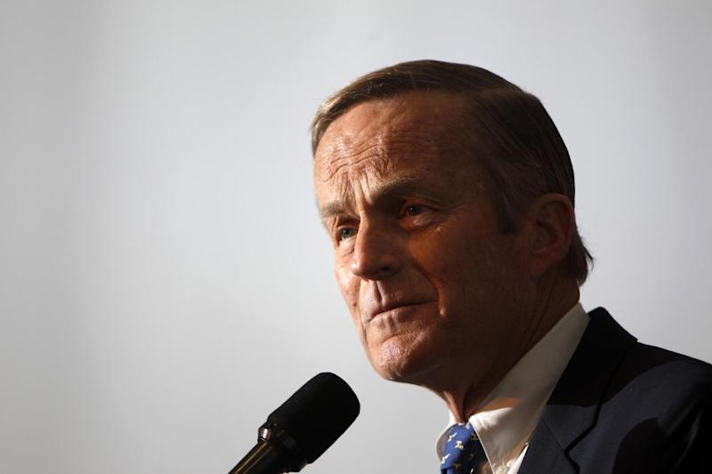 FILE - In this May 17, 2011 file photo, Rep. Todd Akin, R-Mo., announces his candidacy for U.S. Senate, in Creve Coeur, Mo. Democrats have their thumbs heavily on Republican scales in Senate primaries in Missouri and Wisconsin this summer, hoping to tip the balance and improve their own chances of maintaining a majority in November. The idea isn't as far-fetched as it might sound. (AP Photo/Jeff Roberson)