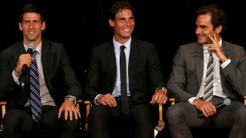 Novak Djokovic, Rafael Nadal and Roger Federer, pictured here in 2015. (Photo by Matthew Stockman/Getty Images)